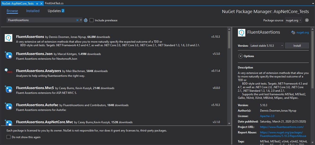 Download FluentAssertions from Nuget