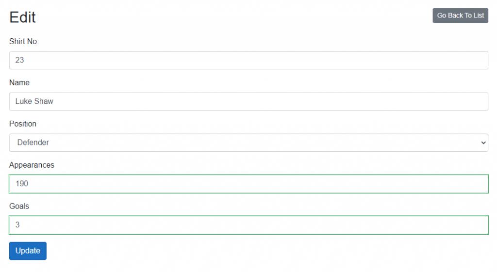 A edit page in Blazor Server CRUD application