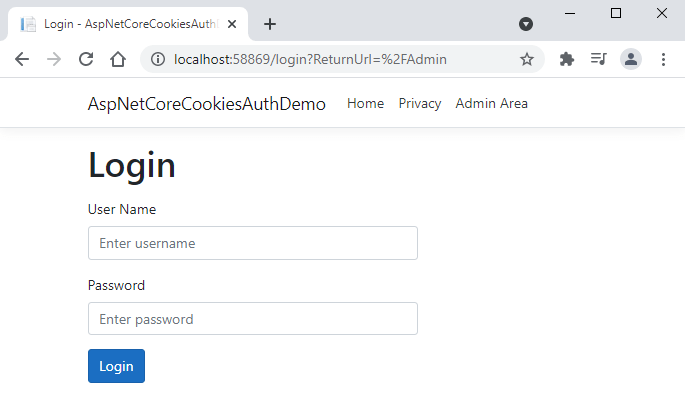 ASP.NET Core Cookies Authentication Login Page