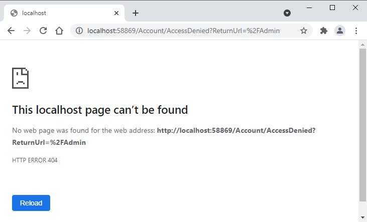 ASP.NET Core Cookies Authentication Role Based Authorization Access Denied Error