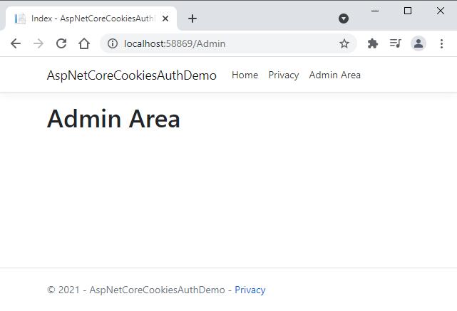 ASP.NET Core Cookies Authentication Secure Page