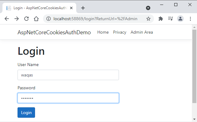 ASP.NET Core Cookies Authentication Testing Login Page