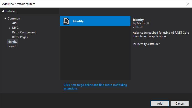 ASP.NET Core Identity - Add Scaffolded Identity Item