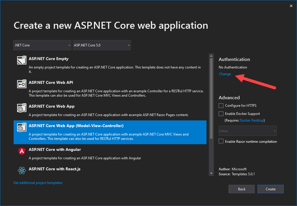ASP.NET Core Identity - Change Authentication Type of New Project