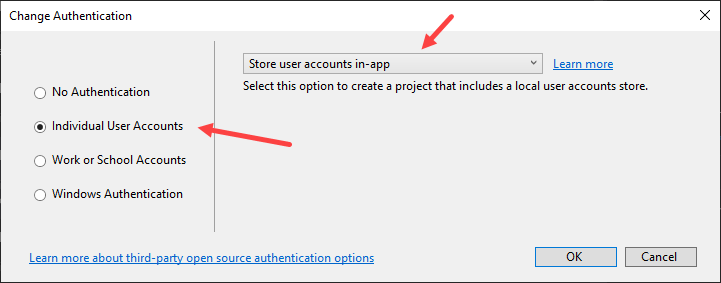 ASP.NET Core Identity - Change Authentication Type to Individual User Accounts