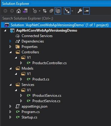 ASP.NET Core Web API Version 1 Solution Explorer View