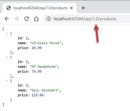 ASP.NET Core Web API Version 1 - Specify Versions in Request URL