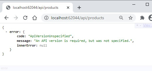 ASP.NET Core Web API Versioning - API Version Not Specified in Query String