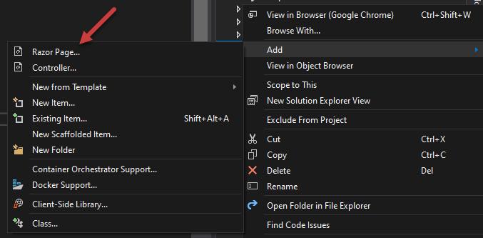 Add Razor Pages using Visual Studio Solution Explorer