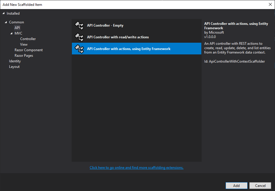 Add New Scaffold Item Dialog in Visual Studio