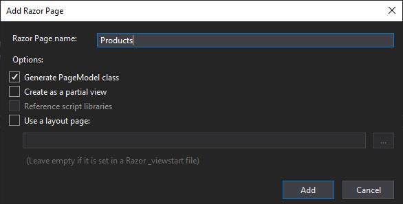Add Razor Page dialog in Visual Studio