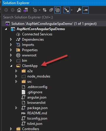 Angular Application Root Folder ClientApp in Visual Studio 2019