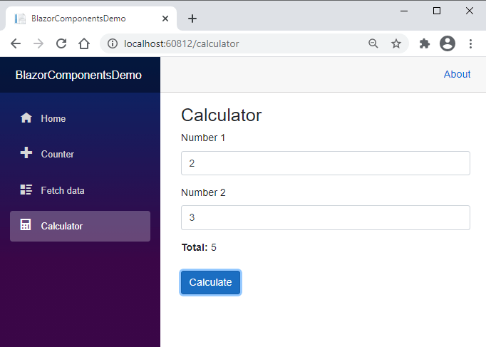 Blazor Calculator Component in Browser