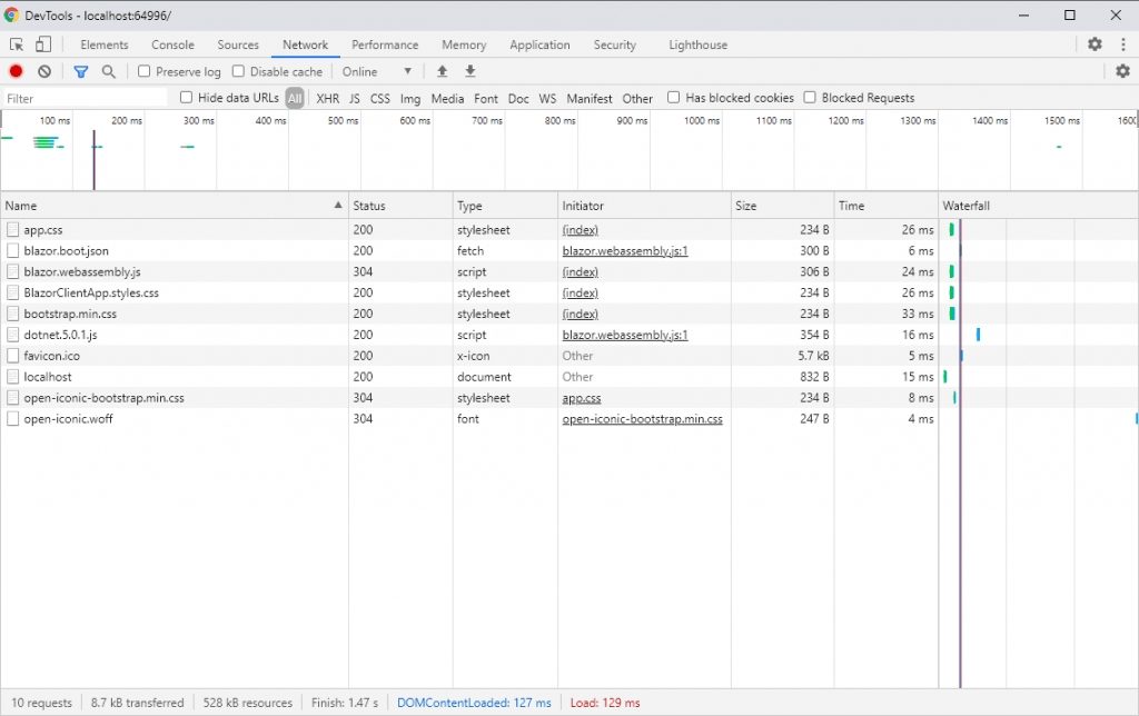 Blazor Client App Files in Browser Developer Tools - Second Request