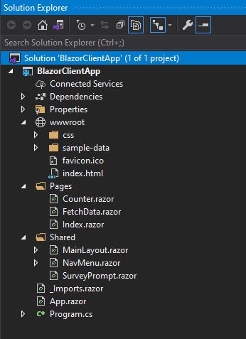 Blazor Client App in Solution Explorer