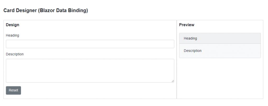 Blazor Data Binding Demo Form