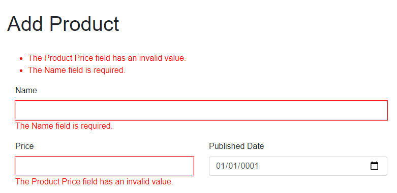 Blazor Form Validation Message with Custom Error Message Template