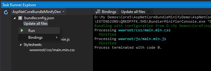 Bundling and Minification using Task Runner Explorer