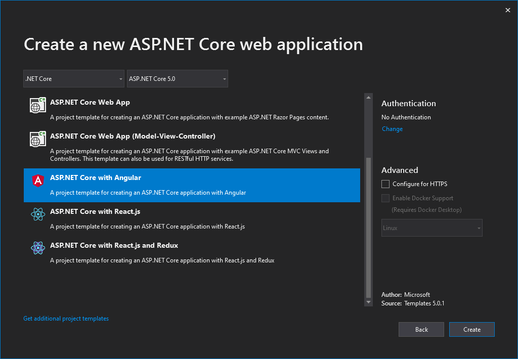 Create Angular Project in ASP.NET Core 5