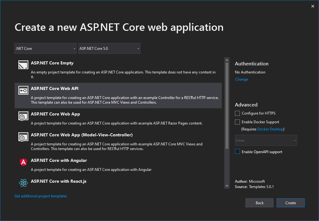 Creating ASP.NET Core 5 Web API Project