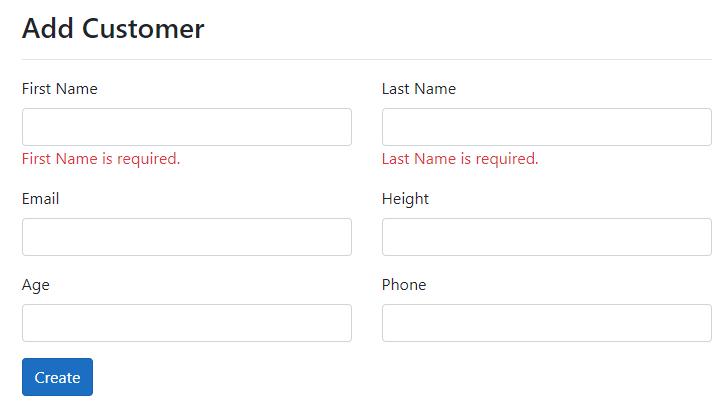 FluentValidators custom validation error messages in ASP.NET Core Form