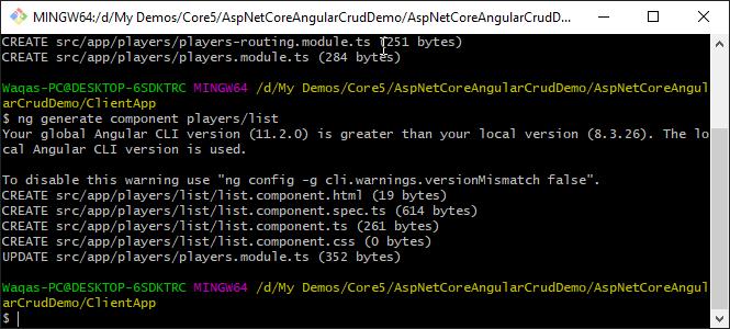Generate Component using Angular CLI in ASP.NET Core Angular SPA App