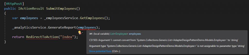 Incompatible Services Communication Error in Visual Studio