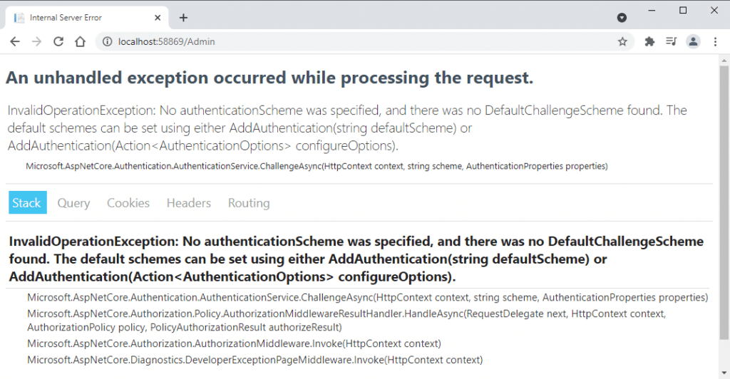 InvalidOperationException as no authentication scheme was specified