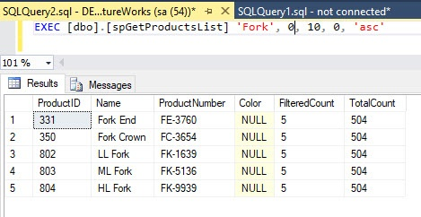JQuery DataTables Filtering with Stored Procedure