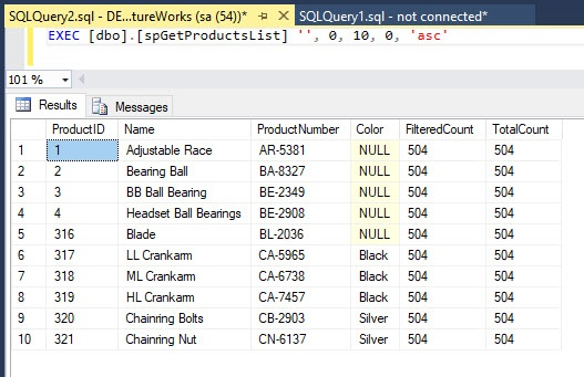 JQuery DataTables Paging with Stored Procedure - Page 1