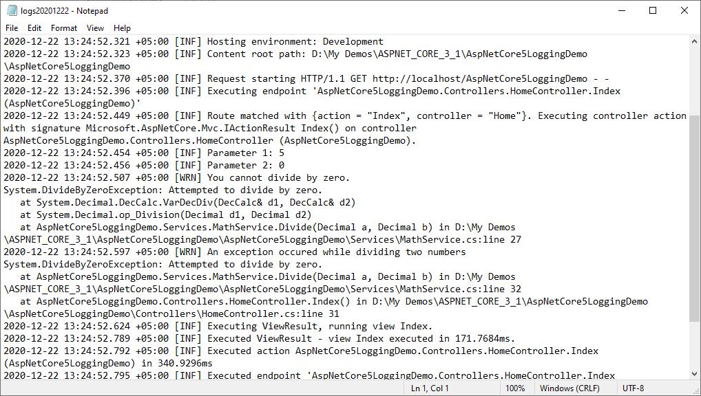 Logging output in file using Serilog File Sink