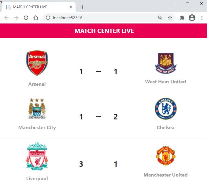 SignalR - Match Center Live Page