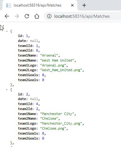 Match Web API returning list of Matches
