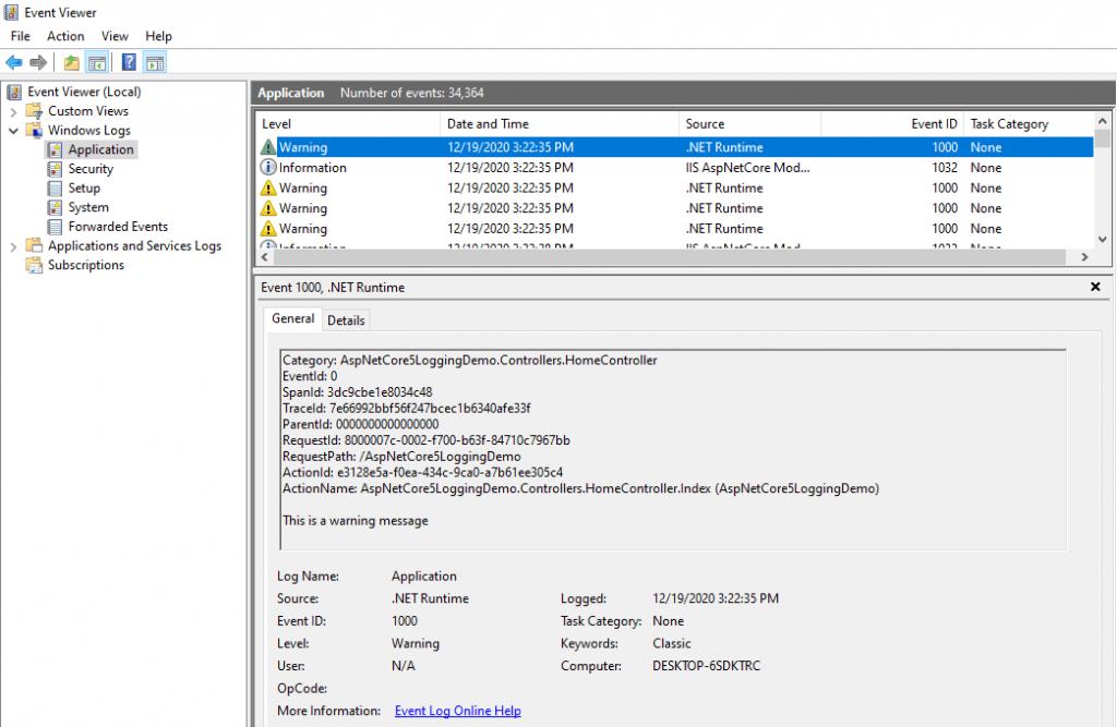 .NET Logging to Windows Event Log