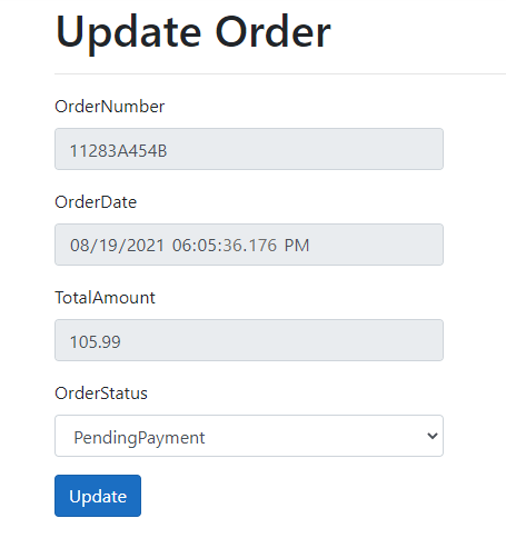 Order form example to see Observer pattern in action