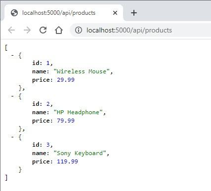 Products API Response for Blazor WebAssembly HttpClient
