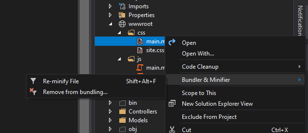Reminify bundle file in Visual Studio using Bundle and Minifier Extension