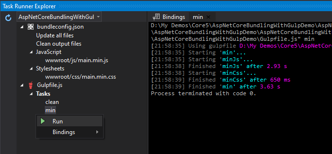 Run Gulp Tasks in Visual Studio Task Runner Explorer