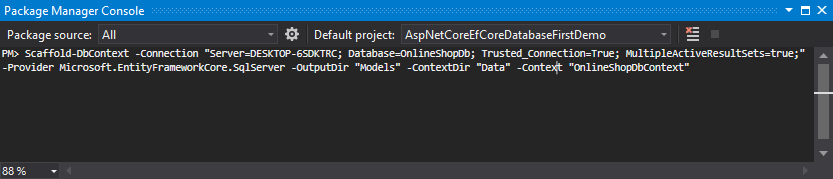Scaffold-DbContext command in Package Manager Console in Visual Studio