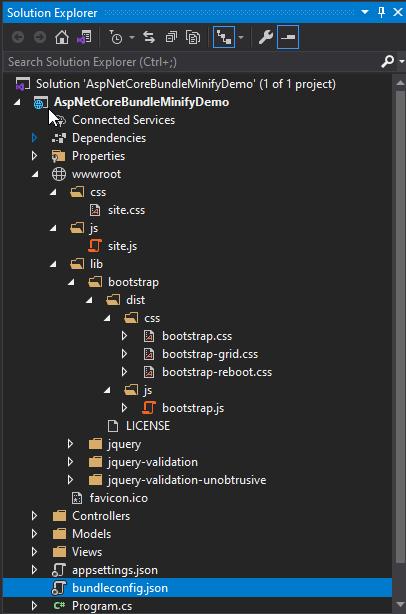 Solution Explorer with bundleconfig JSON file