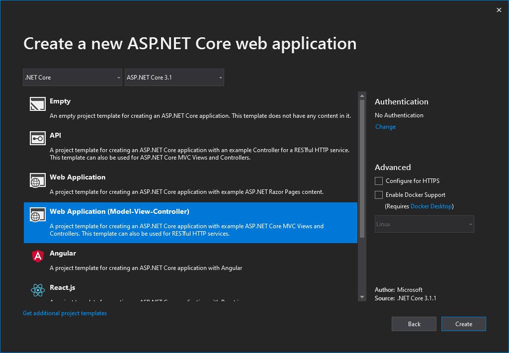 Create an ASP.NET Core MVC Web Application using Visual Studio 2019