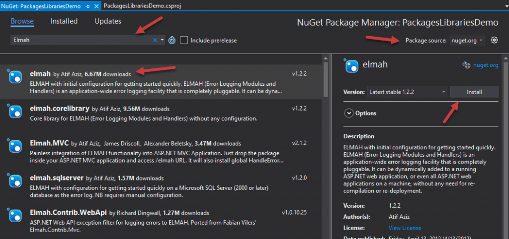 searching and installing nuget package using visual studio