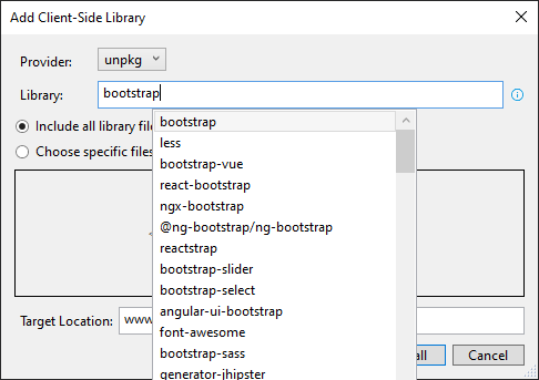 searching client side libraries using LibMan